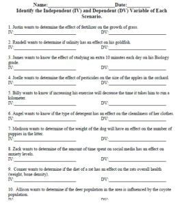 independent variable and dependent variable worksheet independent and dependent variable worksheet usbiologyteaching