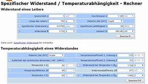Leitungswiderstand Berechnen : leitungswiderstand elektronik ~ Themetempest.com Abrechnung