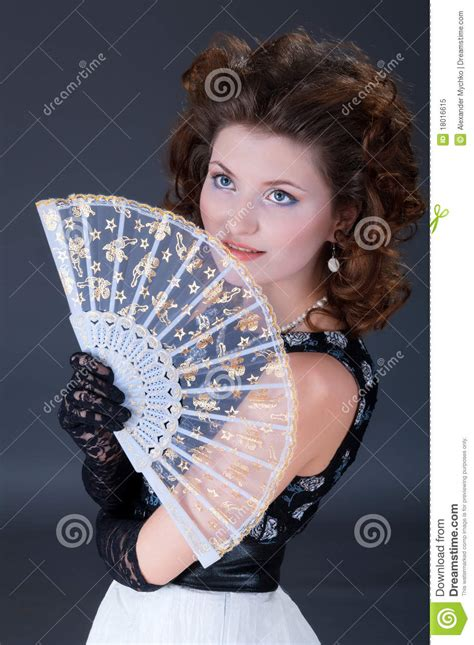 elegant women  fan royalty  stock photo image