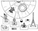 Indian Cut Paper Indians Dolls Wigwam sketch template