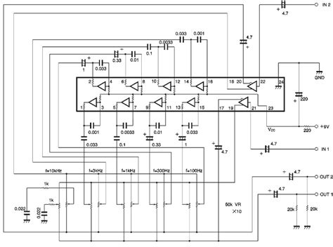 Stereo Graphic Equalizer Circuit Diagram