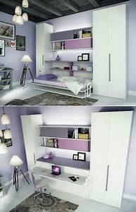 Lit Armoire Gain De Place : table gain de place 4 armoire lit escamotable et lits ~ Premium-room.com Idées de Décoration