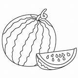 Drawing Watermelon Line Coloring Drawings Fruit Getdrawings sketch template