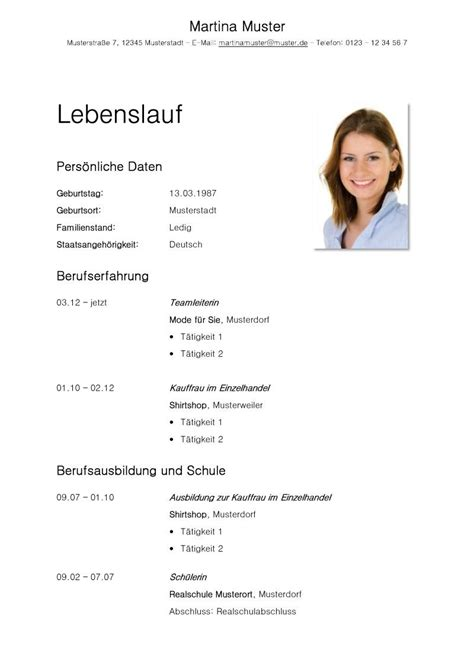 Lebenslauf Zum Downloaden by Tabellarischer Lebenslauf Vorlage Kostenlose Muster Zum