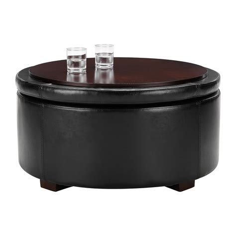 round black leather ottoman black leather round storage ottoman home decorations insight