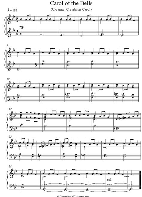 carol of the bells sheet music for piano 8notes com