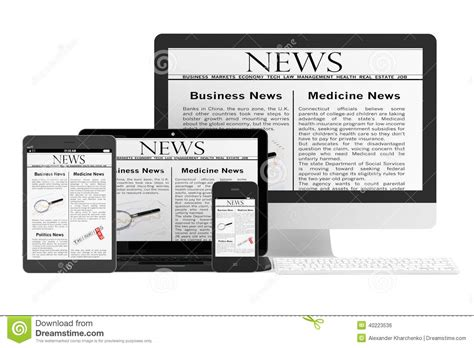 Mobile News Concept Desktop Computer, Notebook, Tablet Pc And M Stock Photo  Image Of