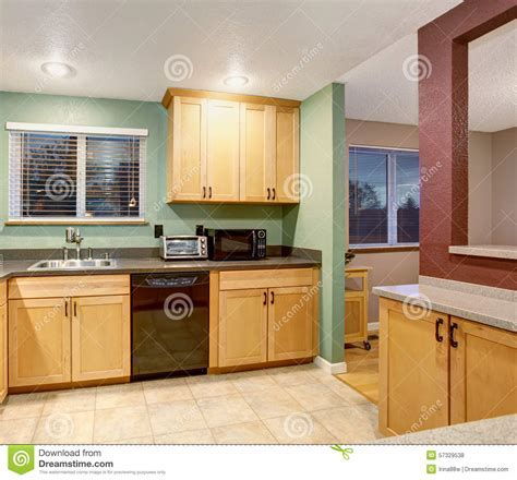 American Light Wood Kitchen Interior. Stock Photo   Image