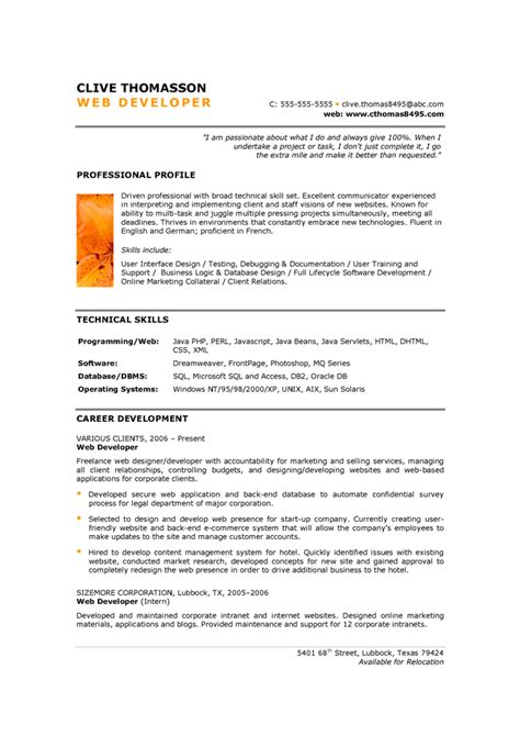 Web Application Security Resume by Dot Net Developer Net Developer Sle Resume Cv Senior