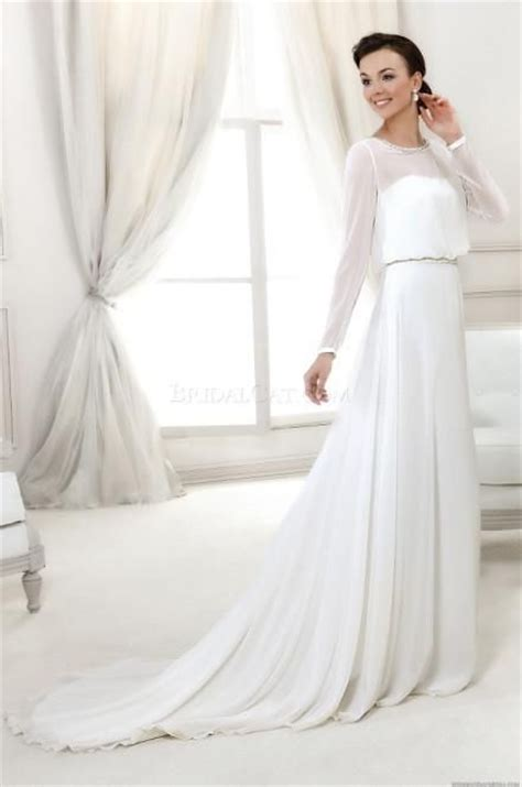 Chiffon Beach Wedding Dresses 2014 Vintage Long Sleeves