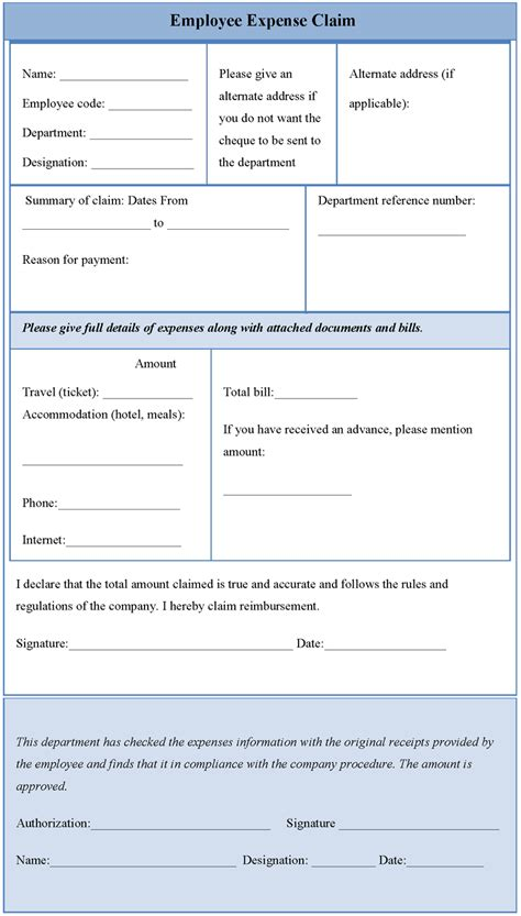 claim expenses form template employee expense claim form sle forms