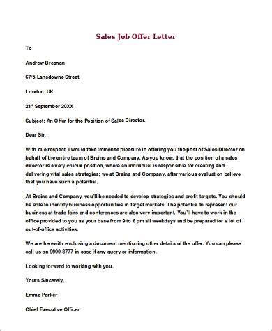 job offer letter sample  examples  word