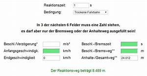 Reaktionszeit Berechnen : bremswegrechner bremsweg anhalteweg berechnen strommer johannes ~ Themetempest.com Abrechnung