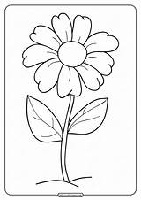 Coloring Flower Simple Printable sketch template