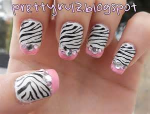 Prettyfulz konad nail art pink zebra design