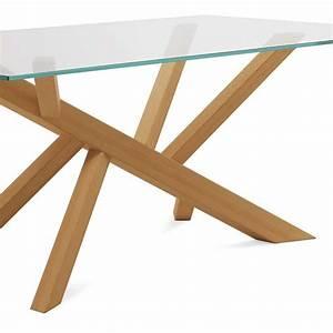 Table Plateau Bois : table verre pied central bois ~ Teatrodelosmanantiales.com Idées de Décoration