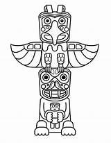 Totem Coloring Poles Sculptures Netart sketch template