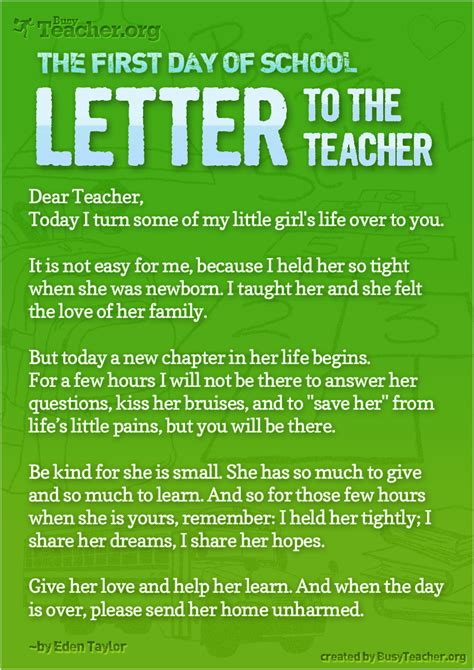 day  school letter   teacher poster
