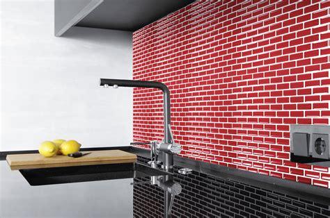 Auf Fliesen Kleben 541 by K 252 Chenr 252 Ckwand Ziegel Rot 3d Mosaik Kacheln Selbstklebend