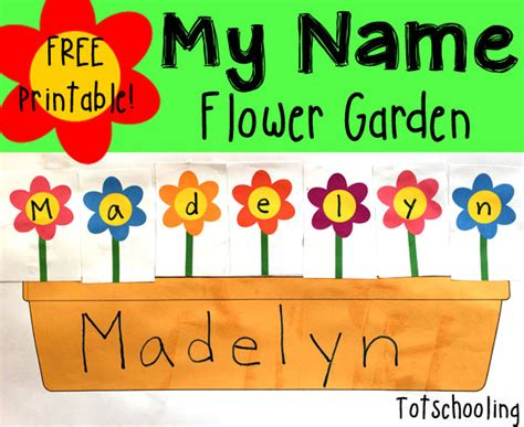 name recognition flower garden activities flower and