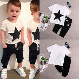 T shirt Cotton White Tops Harem Pants 2pcs Clothes Sets New Kids Baby Boys Star Outfits 2pcs ...