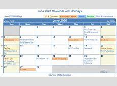 Print Friendly June 2020 US Calendar for printing