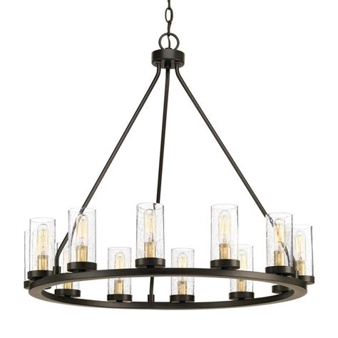 picture lighting home depot progress lighting hartwell 26 63 in 12 light antique bronze chandelier with clear seeded glass