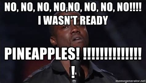 No Kevin Hart Meme - no no no no no no no no i wasn t ready pineapples kevin hart face