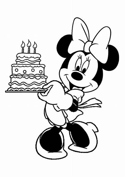 Minnie Mouse Pages Coloring Holding Birthday Printable