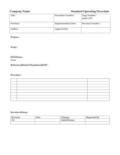 Standard Operating Procedure Template Standard Operating Procedure