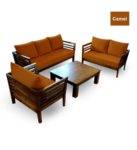 Wooden Sofa by Wooden Sofa Set 3 2 1 Seater Coffee Table By Furny