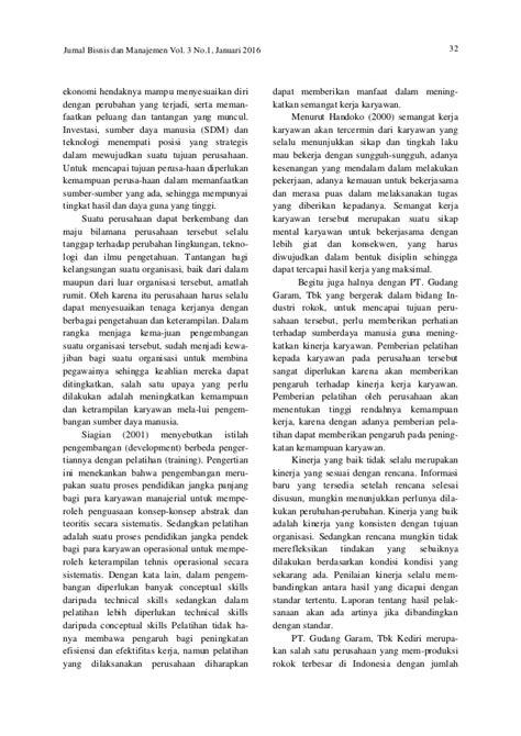 Tesis pengaruh pengembangan sdm terhadap kinerja. PENGARUH