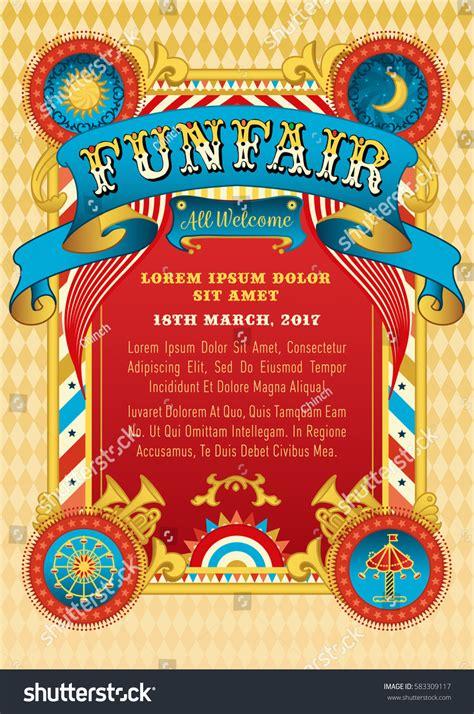 funfair vector template circus tent retro stock vector