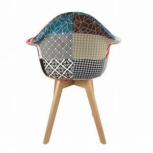Fauteuil Scandinave Patchwork : fauteuil scandinave patchwork multicolore ~ Teatrodelosmanantiales.com Idées de Décoration