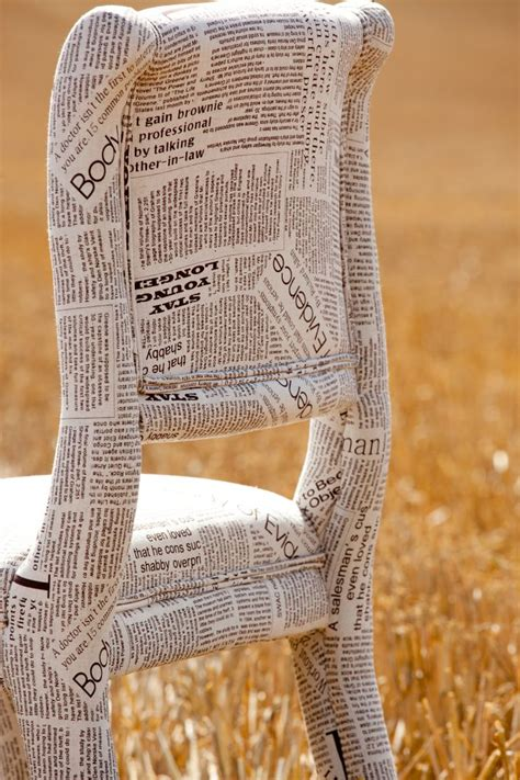 newspaper fabric chair   papier mache