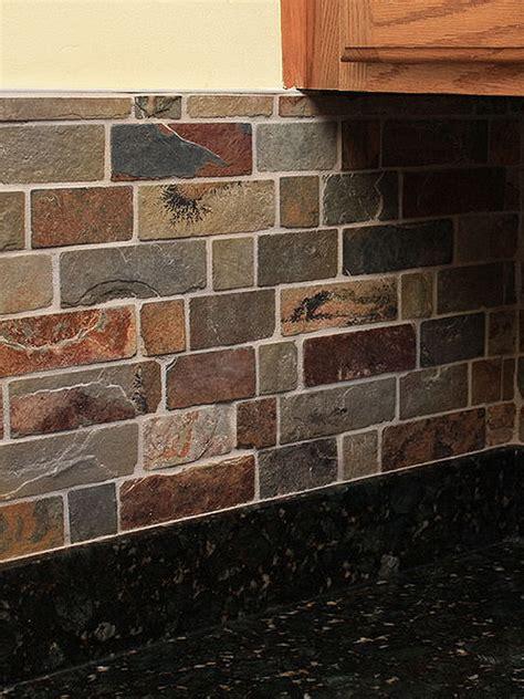 rusty brown slate mosaic backsplash tile  traditional kitchen