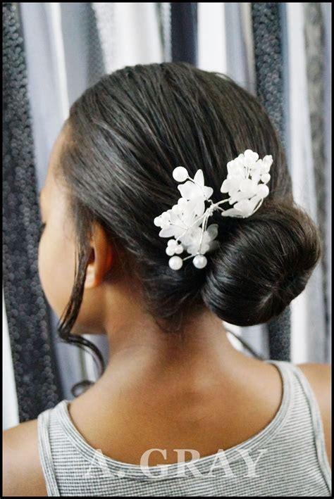 diy black african american girls wedding dressy bun flower clip hairstyle flower girl