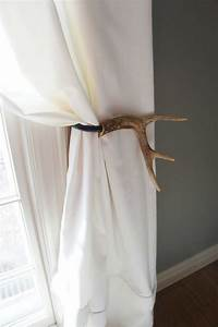 Curtain tieback deer antler tie back holdback cabin decor for Curtain tie backs placement