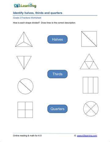 worksheets fractions for grade 2 2nd grade fractions worksheets k5 learning