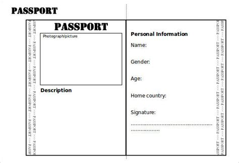 Passport Photo Word Template by Blank Passport Templates Word Excel Pdf