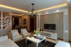 Elegant wallpaper in europe style living room d house