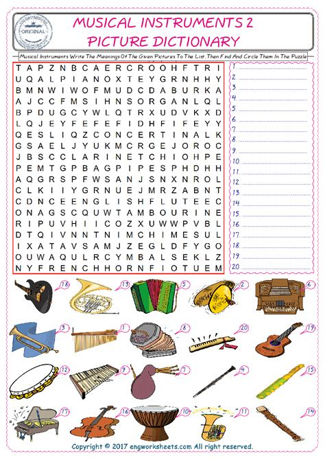 musical instruments esl printable picture english