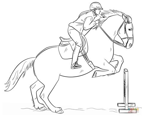 jumping horse  rider coloring page  printable coloring pages