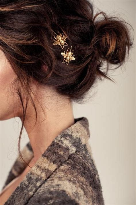 cute updo with bee hairpins hairstyles and beauty tips