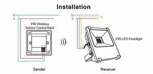 Brightness Sensor 10w  20w Pir Led Floodlight No Wire Sensing From Wall Mounted Pir Switch