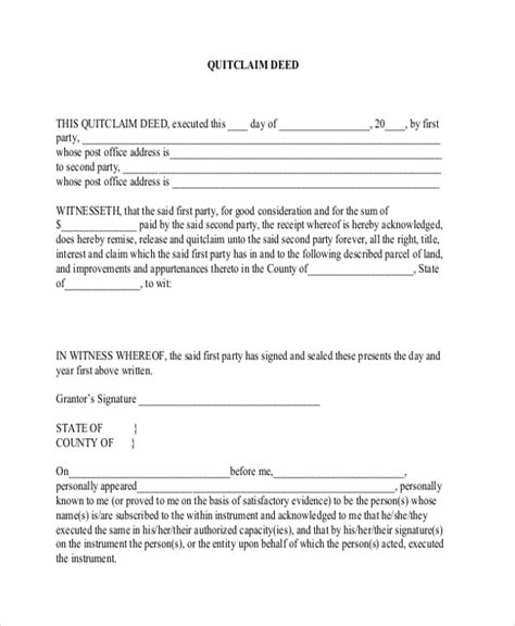 quick deed form free printable sle quick claim deed form 8 free documents in pdf