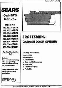 Craftsman 13953225srt1 User Manual Garage Door Opener