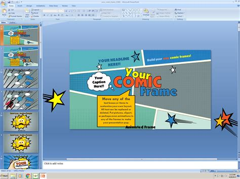 powerpoint  comic frame  template