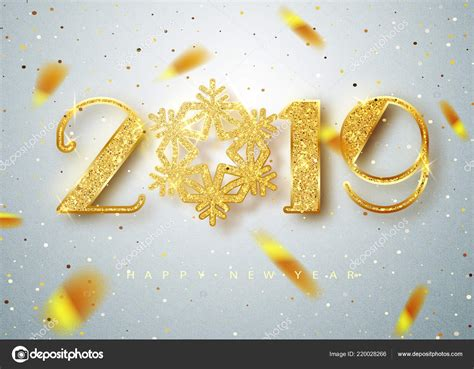 2019 Happy New Year. Gold Numbers Design Of Greeting Card