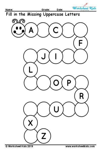 uppercase missing alphabet worksheet     images